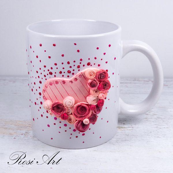 """Чаша """"Сърце от рози"""""""