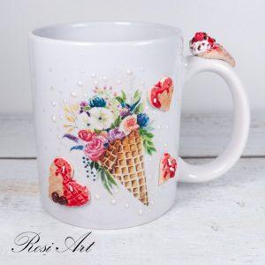 """Чаша """"Сладолед с цветя"""""""