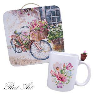 "Комплект чаша и декоративно пано ""Цветя"""