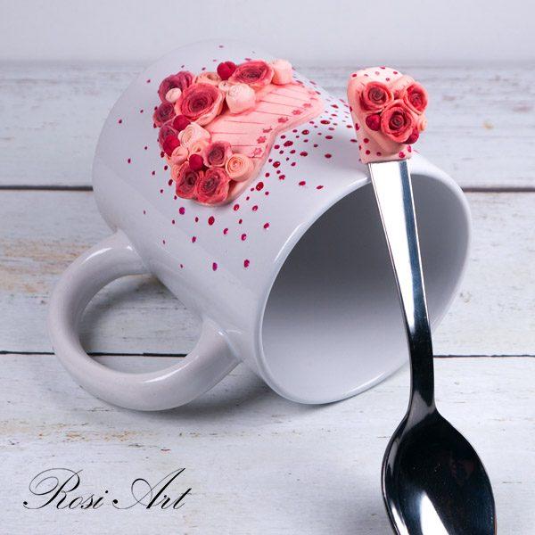 """Декорирана лъжичка """"Сърце от рози"""""""