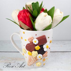 """Букет от бонбони в чаша """"Шоколад, сладолед и цветя"""""""