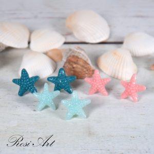"""Обеци """"Морски звезди"""" светло сини сини и розови"""
