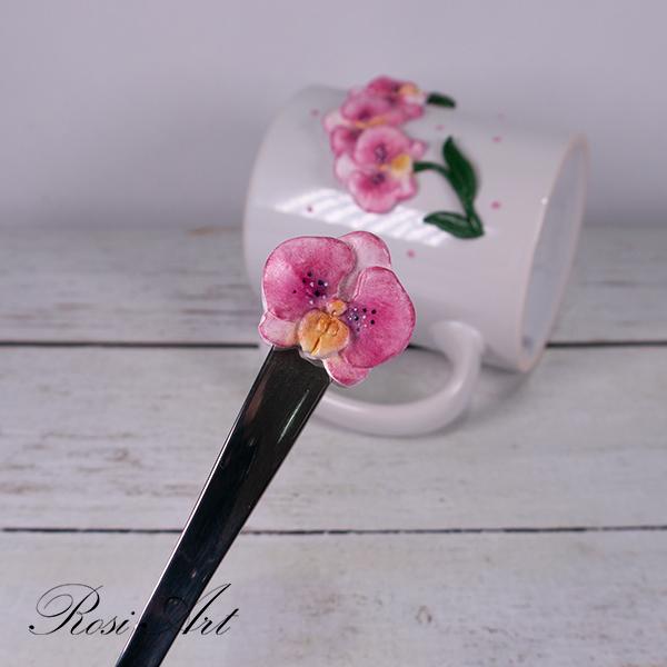 """Комплект чаша и лъжичка """"Орхидеи"""""""