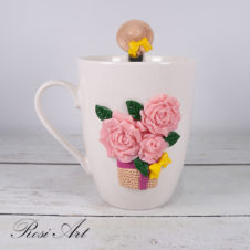 """Комплека чаша и лъжичка """"Рози"""""""