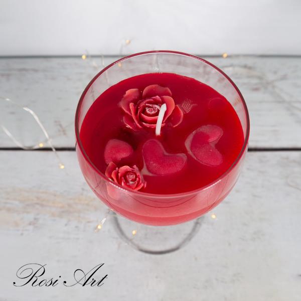 Ароматизирана свещ в чаша Сърца и рози