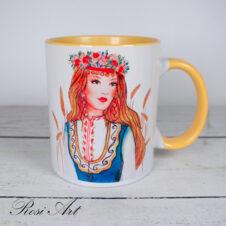 Чаша с фолклорно момиче